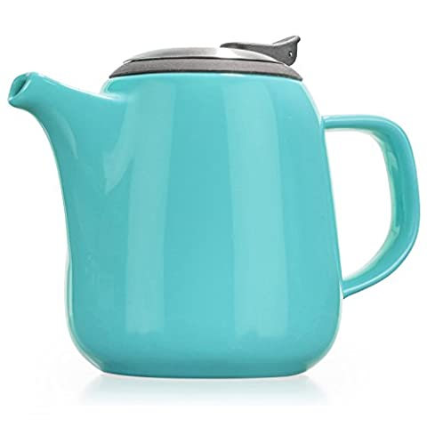 Tealyra - Daze - Théière en Céramique Turquoise - Ceramic Teapot in Blue - 700ml (2-3 cups) - Small Stylish High-Fired Ceramic Teapot with Stainless Steel Lid and Extra-Fine Infuser To Brew Loose Leaf Tea - Dishwasher-safe - BPA Free
