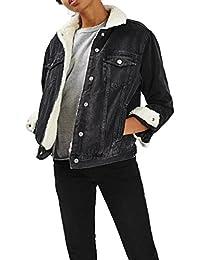 Jeansjacke in schwarz mit fellfutter