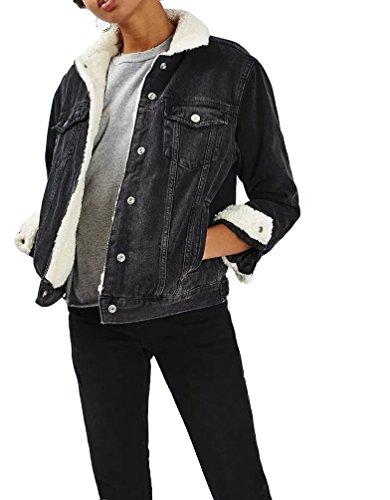 Brinny Damen Boyfriend Trucker Jeansjacke Gefütterte Brusttaschen Baumwolle Übergangsjacke Denim Teddyfutter Beiläufige Outwear