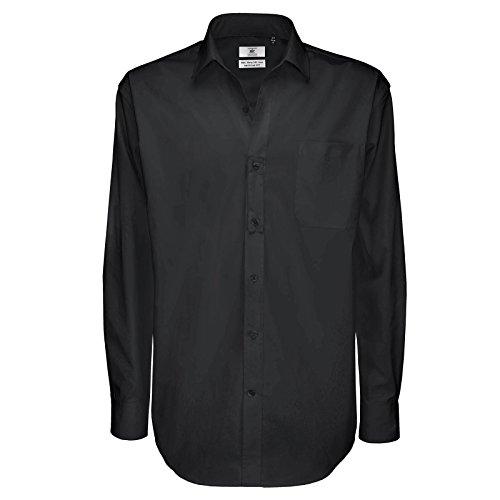 B&C Collection Herren Modern Business-Hemd Gr. L, schwarz (Oxford Hemd Plaid Mens L/s)