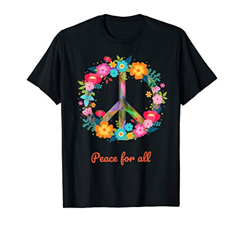 Peace for all Love T-Shirt Hippie Kostüm 60er 70er (Psychedelische Kostüm)