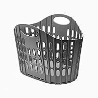 Addis Flat Easy Store Laundry Basket Hamper, Dark Grey, 38 Litre
