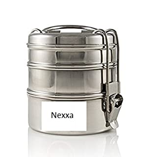 Nexxa 3-Tier Stainless Steel Indian Tiffin Lunch Box (medium), School, office use