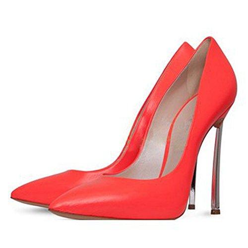 Damen Große Größe Pumps Spitze Zehen High-Heels Stiletto Rutsch Hochzeit Party Kuhleder-Rot