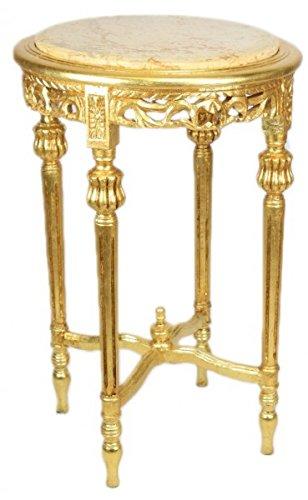 Casa Padrino Barock Beistelltisch mit cremefarbener Marmorplatte Rund Gold 70 x 45 cm Antik Stil - Telefon Blumen Tisch -