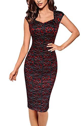FuweiEncore Frauen Spitze Bodycon Bleistift Büro Abend Cocktail Party Kleid (Farbe : Rot, Größe :...