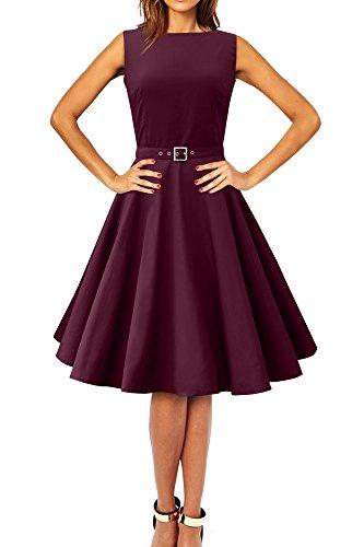ey' Vintage Clarity Kleid im 50er-Jahre-Stil (Pflaume, EUR 38 - S) (50er Jahre Stil Kleid Bis)
