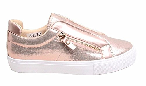 New Womens Glossy Sport Slip On Sneaker Pumps Shoes-Champagne-UK 6