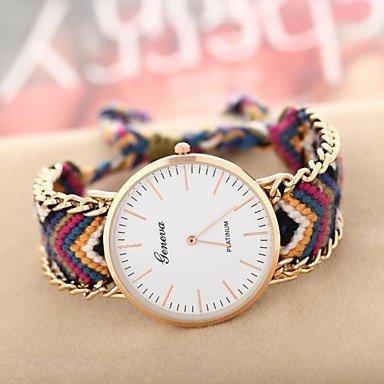 Fenkoo Frauen goldenen Fallkette Stoffband-Quarz-analoge Armbanduhr