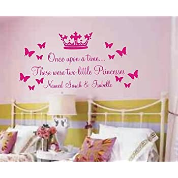 Vinylgraphicsonline Personalised Once Upon A Time Wall Art Sticker Quote  For Girls Share Bedroom Two Names Hot Pink Large 100Cmx60Cm Part 44