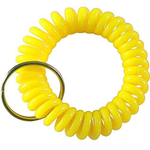 keyfix 5 x Schlüsselband, Fitness Spiral Armband für Garderoben Spind Schlüssel, 5er Pack Gelb KF17