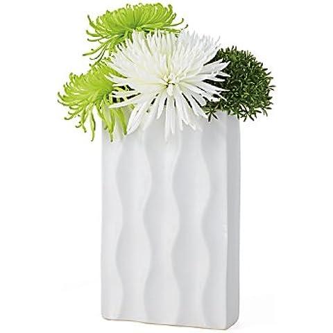 Torre y Tagus 901470 Ripple jarrón cerámica rectangular, corto, blanco