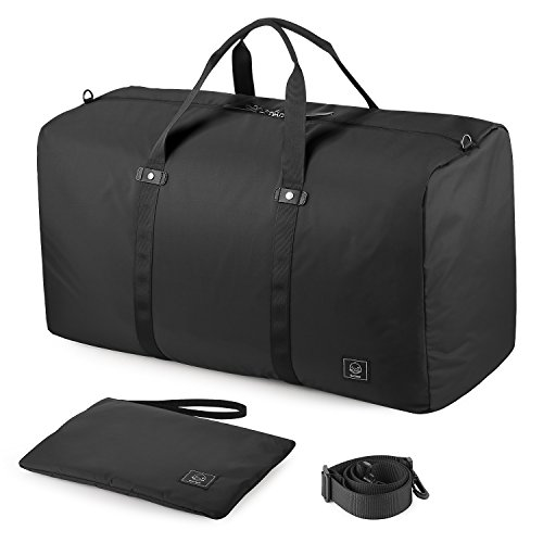 GAGAKU 80L Faltbare Reisetasche Travel Duffle Bag Packbare Handgepäck Ultraleicht Nylon XXL Reise Cabin Tasche - Schwarz