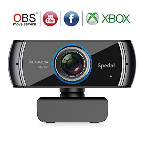 Spedal Full HD Webcam 1536p, Streaming Cámara Web con Micrófono, USB Webcam para Xbox OBS XSplit Skype Facebook, Compatible con Mac OS Windows 10/8/7