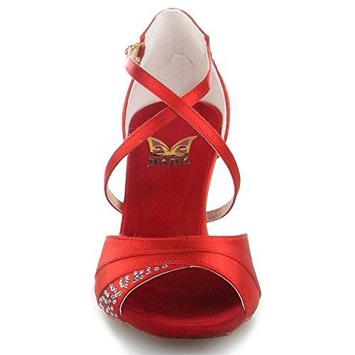 Jia Jia 20522 Damen Sandalen Ausgestelltes Heel Super-Satin mit Strass Latein Tanzschuhe Rot , 37 - 6