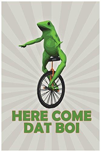 Poster Gießerei Hier Kommen Dat BOI Frosch auf Einrad Funny Funny 36x54 inches Poster