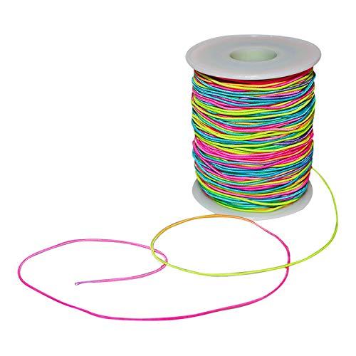 Elastische Schnur Perlenschnur (100 m) - Regenbogen Farbe Stretch Faden Stoff Handwerk Schnur mit 1mm Durchmesser fur DIY Halskette, Armband, Handwerk, Haargummis,...
