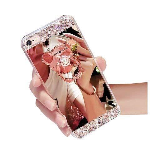 Sycode Hülle Spiegel Glitzer Diamant Strass Überzug Gold Weiche Glänzend Shell Etui mit Bär Ring Ständer for iPhone 8/7 4.7