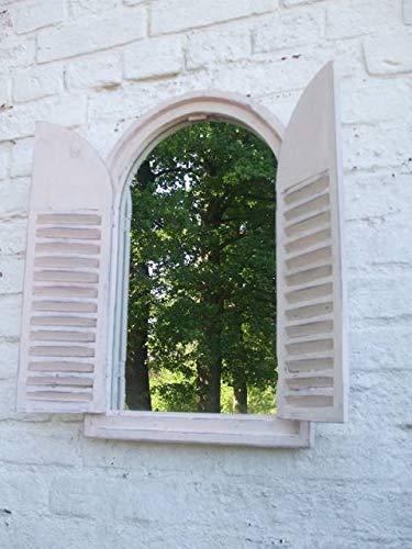 Deko-Impression Wunderschöner Wandspiegel,Fensterläden,Landhausstil, Creme,Shabby-Chic