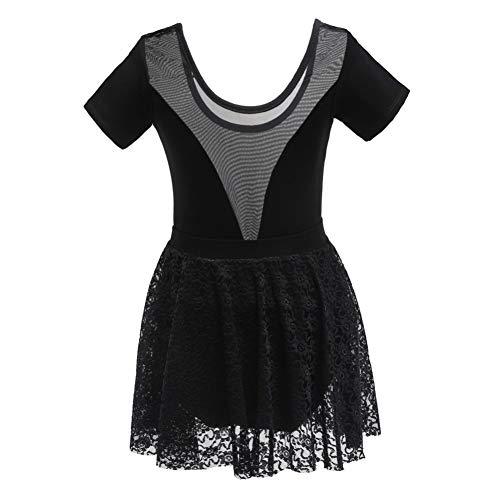 Tanz Kostüm Biketard Schwarz - Shiningbaby Mädchen Trikot Perspektive V-Ausschnitt Spitze Abdeckung Ballett Tanz Kostüme Gymnastik Kleidung Kleid für Alter 3-12 Jahre alt