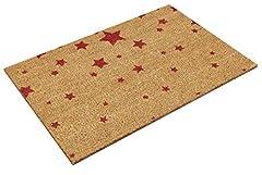 Idea Regalo - Relaxdays Tappettino per Ingresso in Fibra di Cocco, Misure 40 x 60 cm, Modello Stelle, Colore Naturale, Vari Colori Disponibili, Colore Rosso