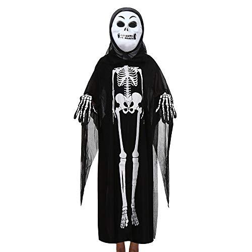 Feytuo Damen Herren Kostüme Gothic Retro Langarm Skelett Geister Mantel + Horror Maske + Handschuhe DREI Halloween Cosplay Set Cosplay Vintage Halloween (Zigeuner Kostüm Zum Verkauf)