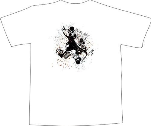 T-Shirt E332 Schönes T-Shirt mit farbigem Brustaufdruck - Logo / Grafik - abstraktes Design / Basketball Sport und Musik Schwarz