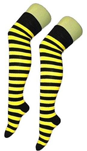 n Jungen Streifen Argyle Schiedsrichter Check Lycra Baumwolle Plain Bow Knöchel über die Kniestrümpfe (Fußgröße 4-6, Biene Gelb / Schwarzer Streifen) (Damen Schiedsrichter Kostüme)