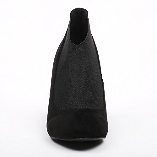 Ideal Shoes–Scarponcini effetto camoscio con elastico ombrello Nero
