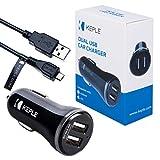 Keple Dual Port Auto Ladegerät + USB Kabel Huawei P10 Lite / P9 Lite / P8 Lite 2017 / MediaPad T3 10 / Honor 5c / Honor 6 | 2X 2.4A Schnell (12/ 24V) (0.5m/ 1.5ft)