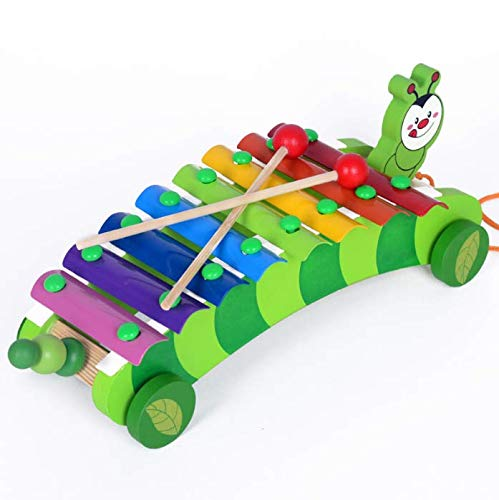 WESEEDOO Baby Xylophon, Raupe Spielzeugautos Kinder Xylophon Baby Percussion Musikinstrumente Holz Lernspielzeug