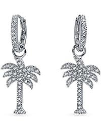 Bling Jewelry CZ Palm Tree Sterling Silver Huggie Dangle Earrings