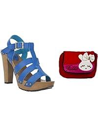 Estatos Pattern Leather Open Toe Buckle Closure Block Wooden Heel Blue Gladiator Sandals With Red Sling Bag