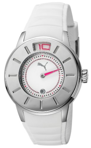 Puma Time Women's Quartz Watch Ring Silver PU102382001 with Rubber Strap