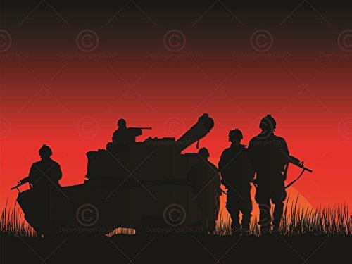 PHOTOGRAPH MOCK UP SILHOUETTE SUNSET PLATOON TANK ART PRINT PLAKAT POSTER MP3979A (Grafik Tank Print)