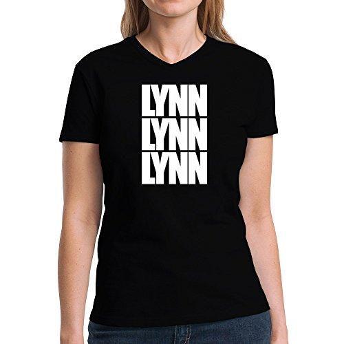 Eddany Lynn three words Damen V-Ausschnitt T-Shirt (Stadt Lynn M)