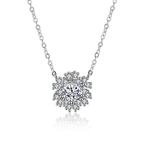 HMILYDYK mujeres niñas auge diamante copo de nieve colgante collar plata de ley Circonita Cristal Joyería