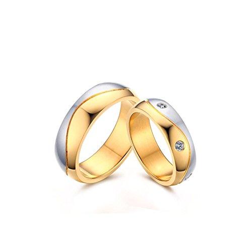 LOUMVE Zwei Töne Edelstahlringe Damen Silber Vergoldet 6MM Verlobungsring Titan Herren mit Gravur Größe 62 (19.7) (Titan Herren Camo Trauringe)