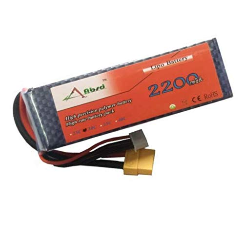 Robocraze 2200 mAh Lipo Battery Rechargeable Power Supply for RC Cars and Quadcopter - 11.1 V, 25 C