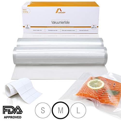 Amazy Vakuumierfolie (2 Rollen | 30 x 600 cm) inkl. Etiketten - 2 individuell zuschneidbare Folienrollen für schnelles Vakuumieren von Lebensmitteln, für alle gängigen (Balken-) Vakuumierer geeignet