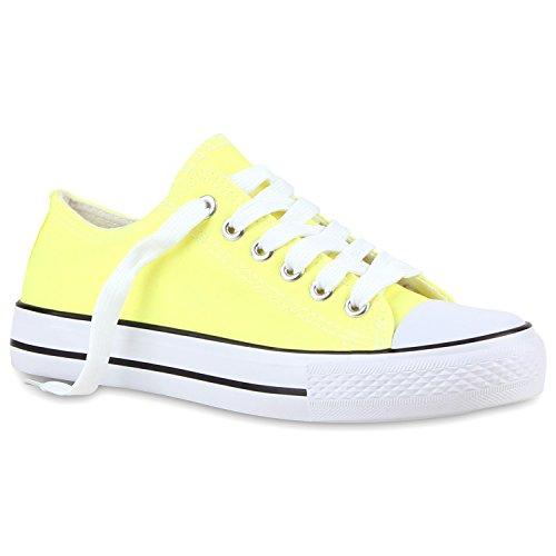 Freizeit Damen Sneakers Low Viele Farben & Größen Canvas Schuhe Hellgelb