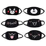 Cotton Masks,Aieve 6 Pack Unisex Mouth Masks,Black Cute Anime Mask,Anti Dust Kawaii Muffle Face Mask For Boys Girls