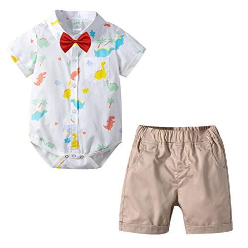 MRULIC Infant Baby Jungen Gentleman Strampler Hosenträger Strap Shorts Outfits Sets Sommer Kurzarm Shirt und Hose (Polo Cord Hose)