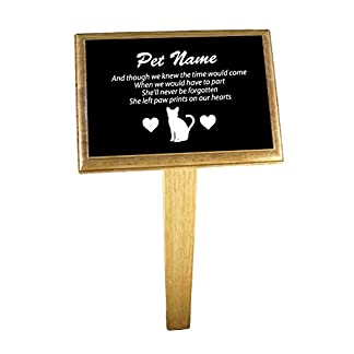 notts laser Personalised Cat Memorial Plaque with optional Oak Backing Board and Ground Stake (Plaque, Backing Board & Ground Stake) Female 41qnl5HOUiL
