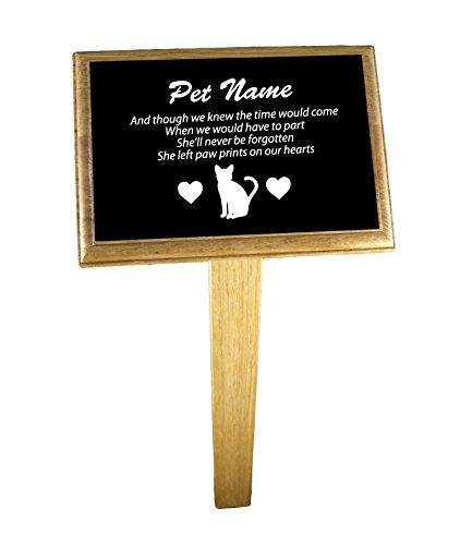 Personalizzato gatto targa commemorativa con dorso in legno di quercia e picchetto opzionale, Alluminio, Plaque, (Cat Targa Commemorativa)
