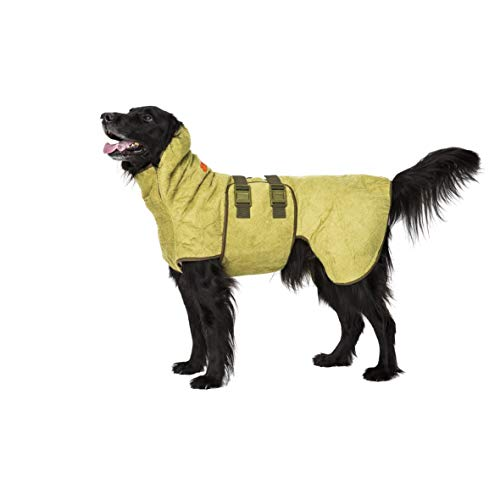 SICCARO Wetdog Classic Bamboo Trockenmantel Hundemantel Wintermantel Regenmantel extrem saugfähig antibakteriell geruchsreduzierend professionell. Die effizienteste Lösung für nasse Hunde, zieht 80 Prozent der Feuchtigkeit in 10 Minuten aus dem Fell (classic / Bambus, M 38-47cm) -