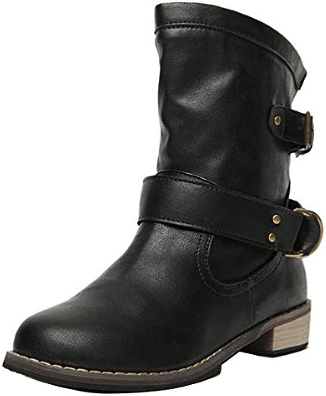 Gaorui Damen Mädchen Leder Biker Boots Stielfel Halbschaft Chukka Boots Winter Schuhe