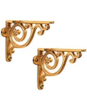 Casa Decor Golden Sylvan Stencil Wall Bracket for Wall Shleves Home Décor Set (2 pieces) - Gold