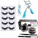 ClubComfort 5 Pair Eyelash, 1 Eyelash Glue, 1 Eyelash Curler, Gel eyeliner Black & Brown