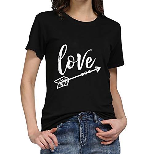 an Strandtunika Sommerkleid Tunikakleid Bluse, Frauen Mädchen Plus Size Brief Tees Shirt Kurzarm T-Shirt Bluse Tops, Schwarz, 2XL ()